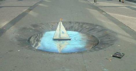 Optické ilúzie na chodníku
